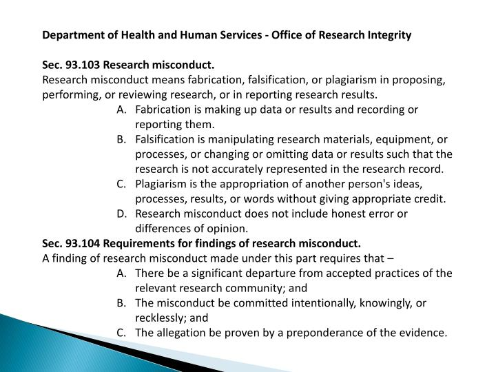 Department of Health and Human Services - Office of Research Integrity