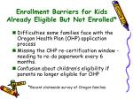 enrollment barriers for kids already eligible but not enrolled