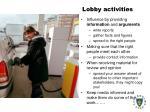 lobby activities