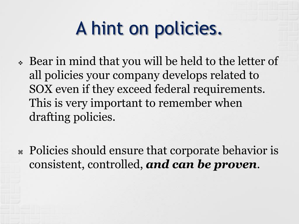 A hint on policies.