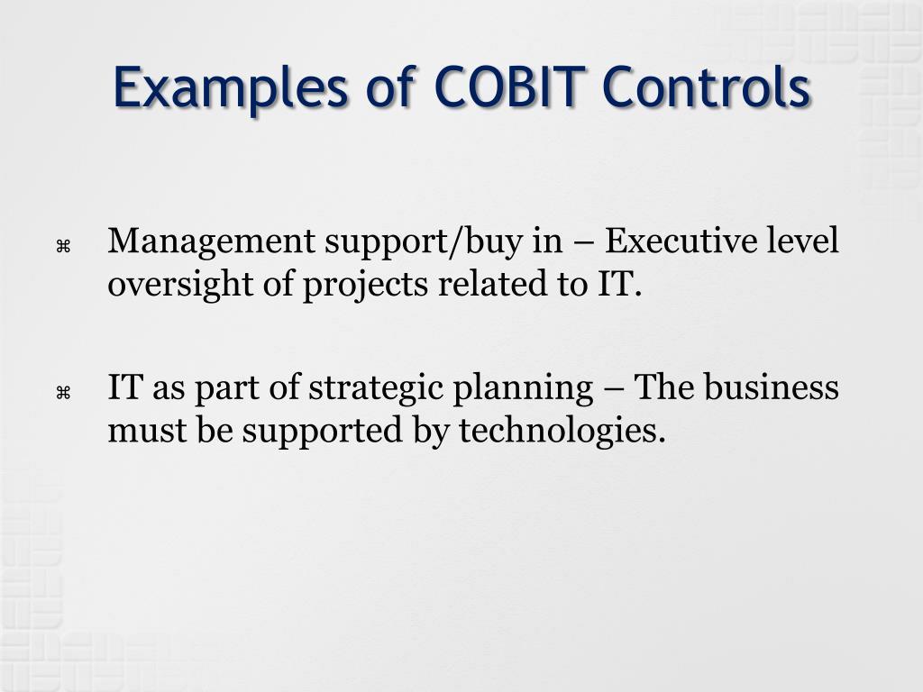 Examples of COBIT Controls