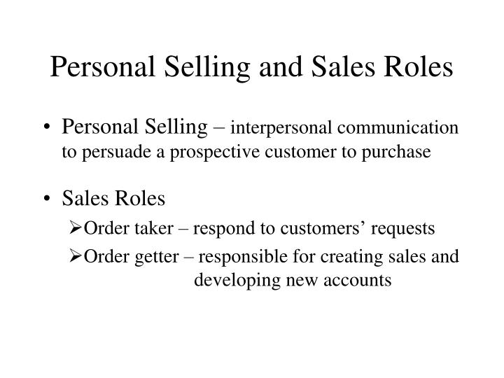 personal selling and sales roles n.