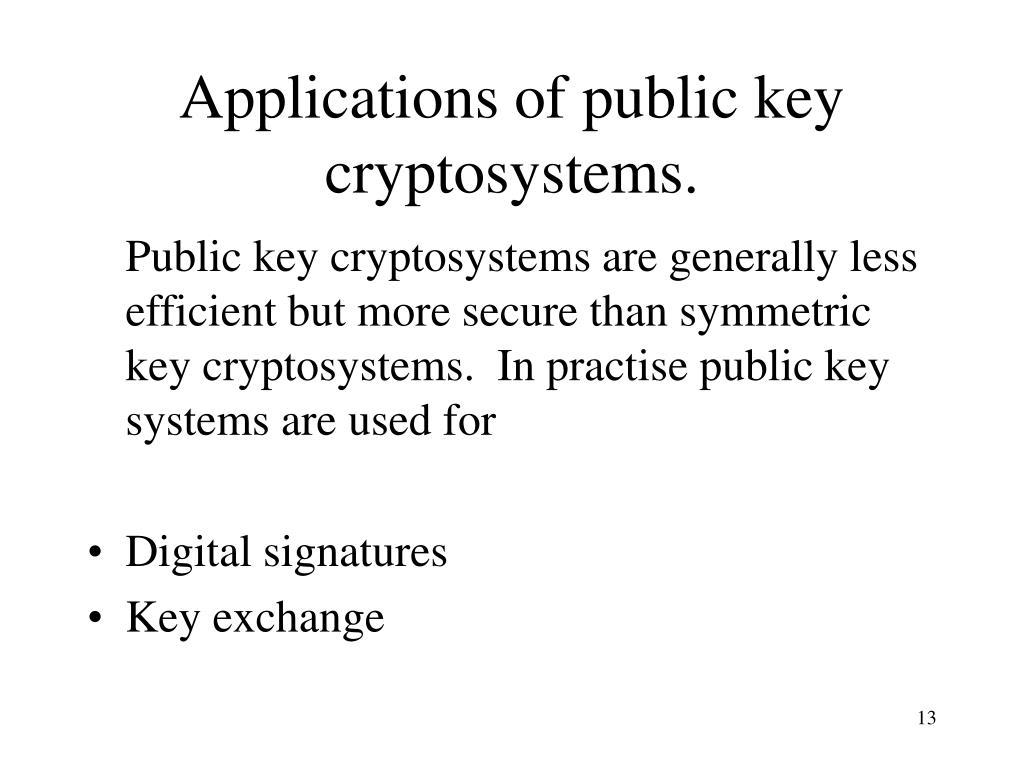 Applications of public key cryptosystems.