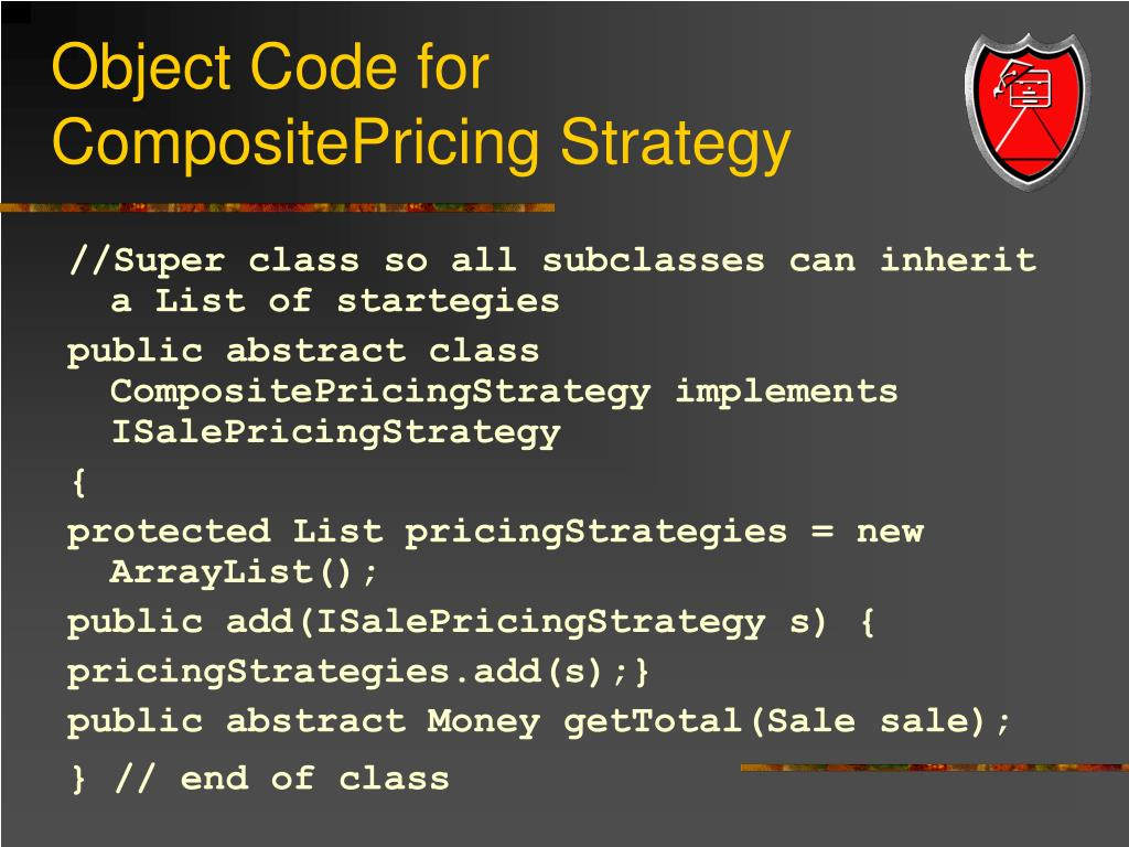 Object Code for CompositePricing Strategy