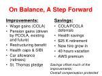 on balance a step forward
