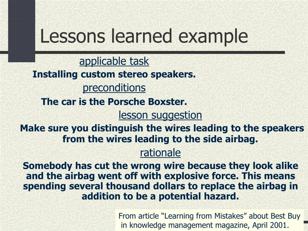 Lessons learned example