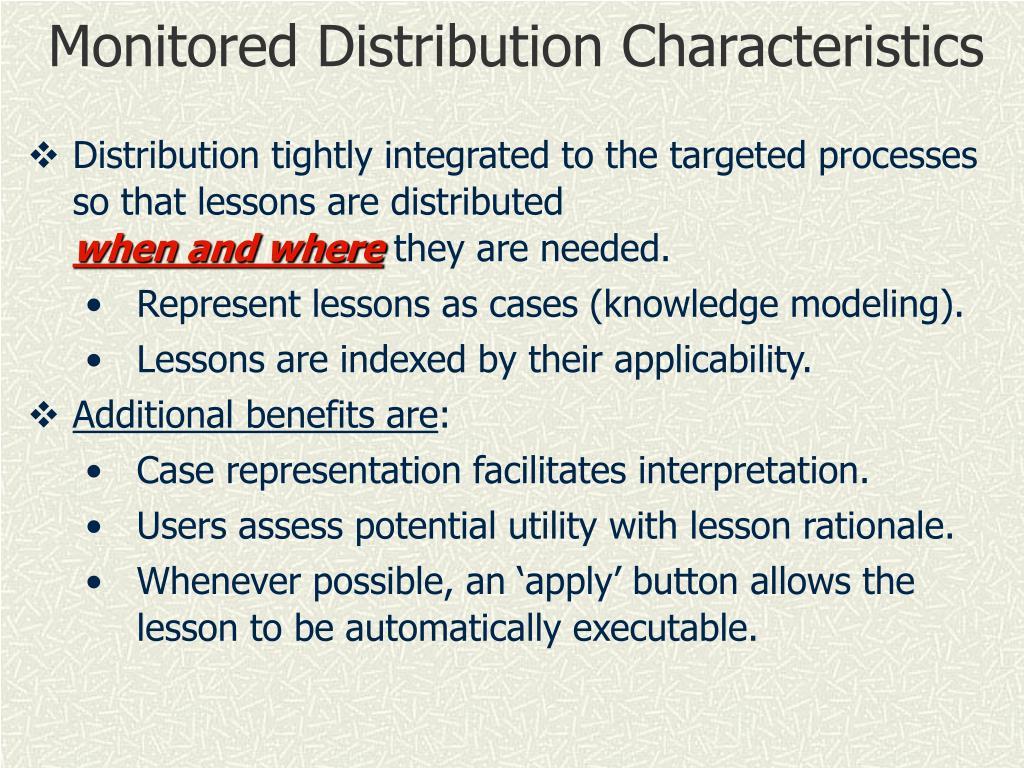 Monitored Distribution Characteristics