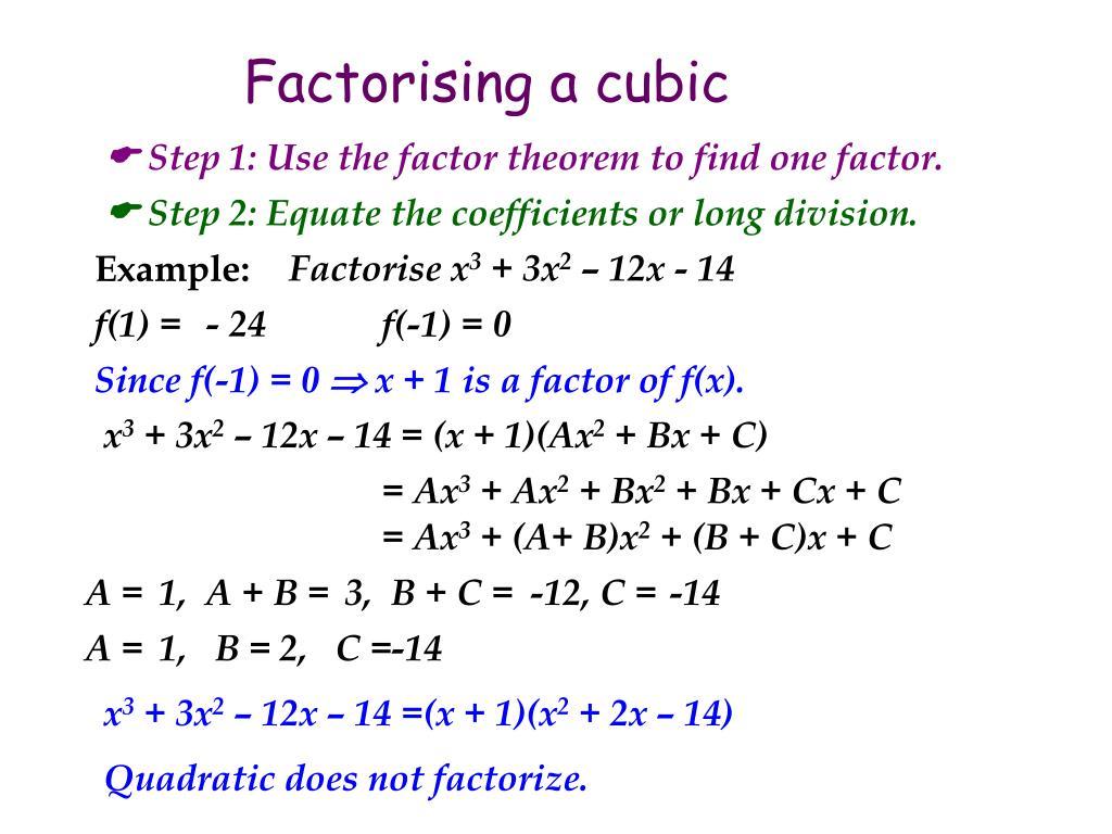 Factorising a cubic