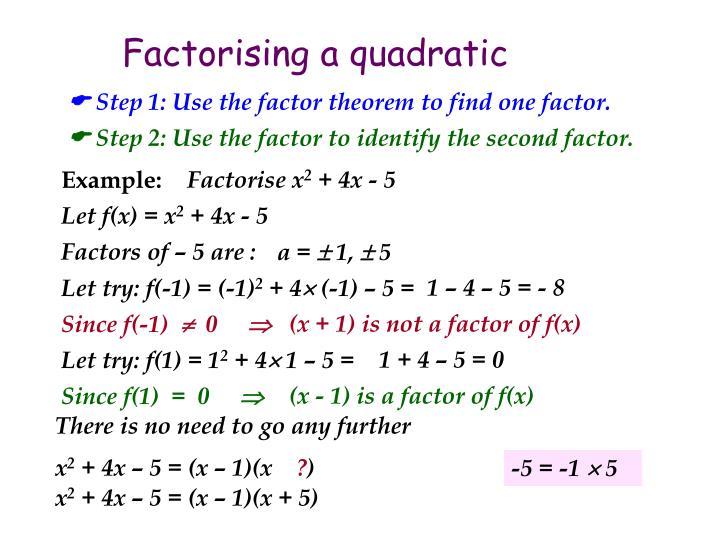 Factorising a quadratic