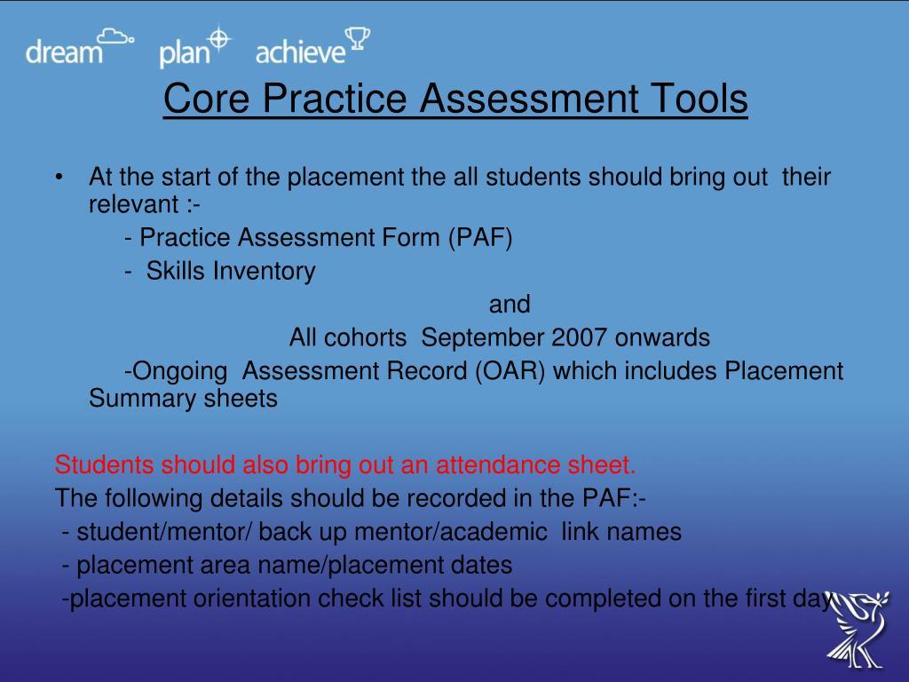 Core Practice Assessment Tools