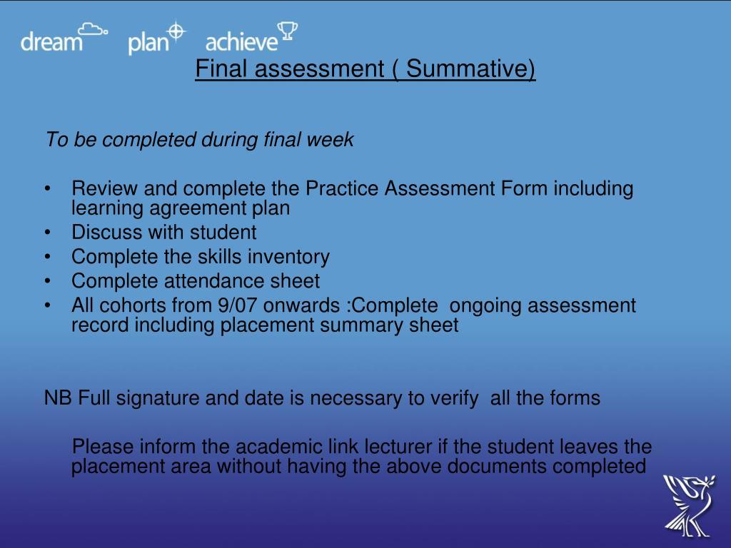 Final assessment ( Summative)