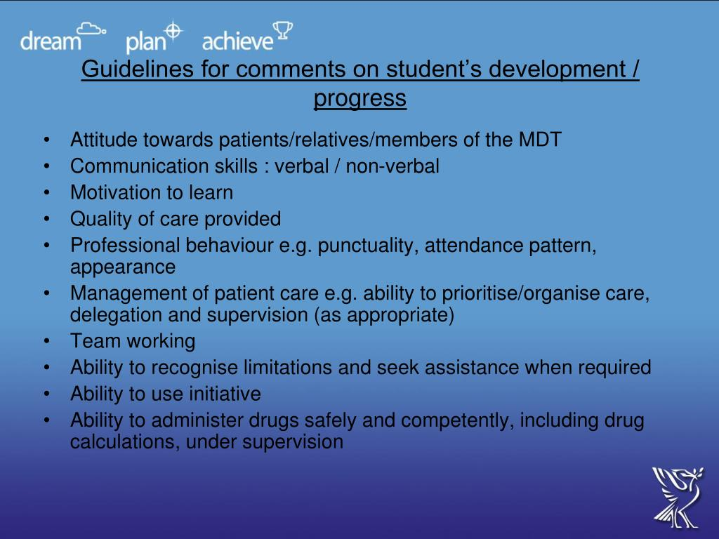 Guidelines for comments on student's development / progress