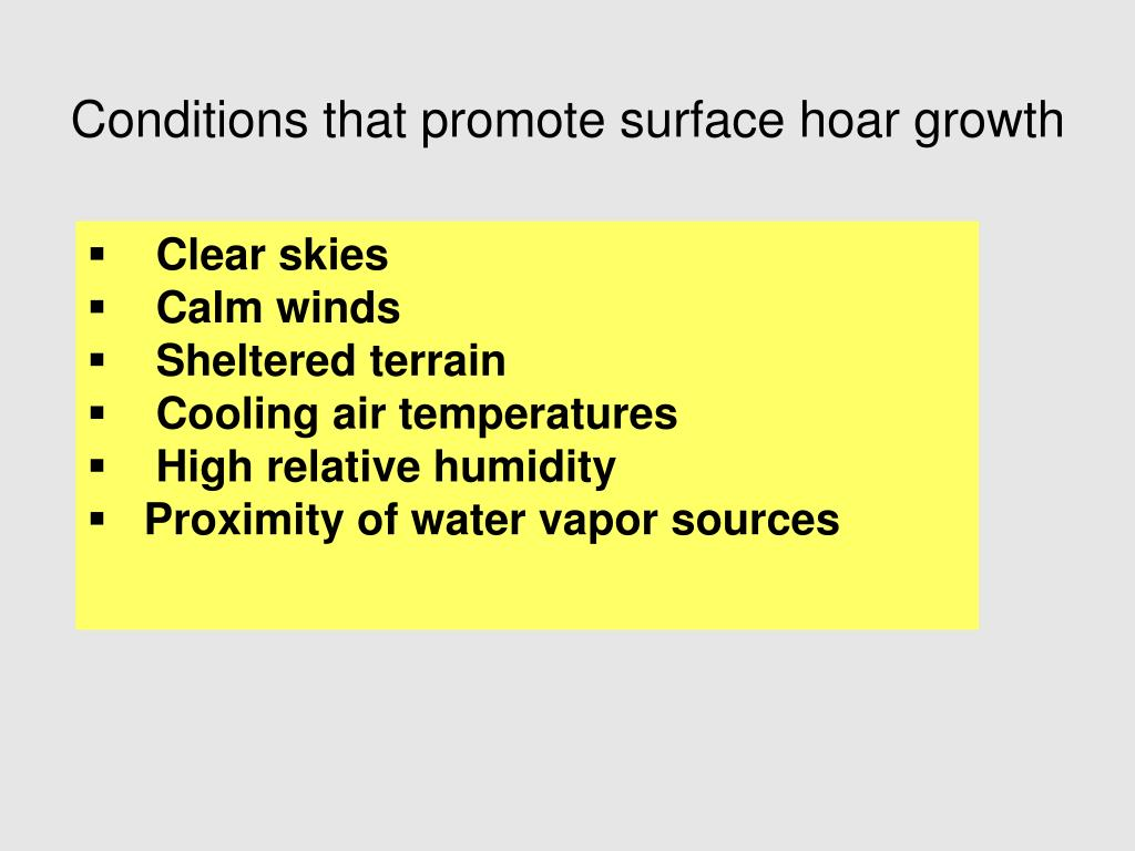 Conditions that promote surface hoar growth