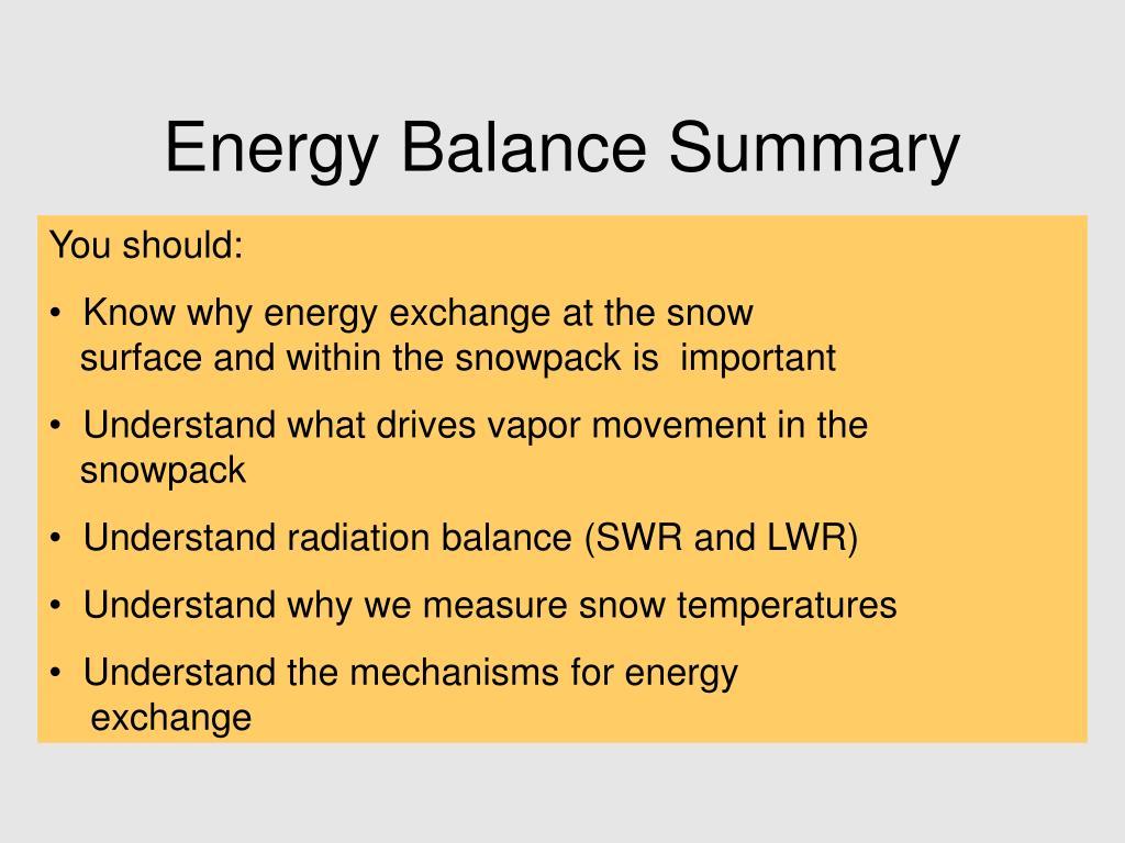 Energy Balance Summary