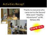 activities recap