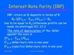 interest rate parity irp