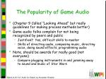 the popularity of game audio