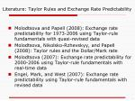 literature taylor rules and exchange rate predictability