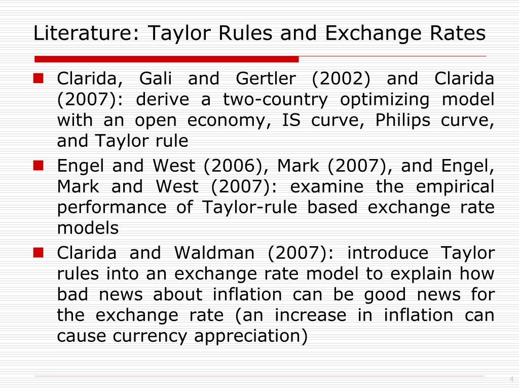 Literature: Taylor Rules and Exchange Rates