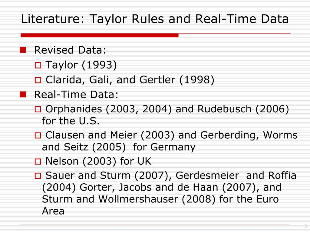 Literature: Taylor Rules and Real-Time Data