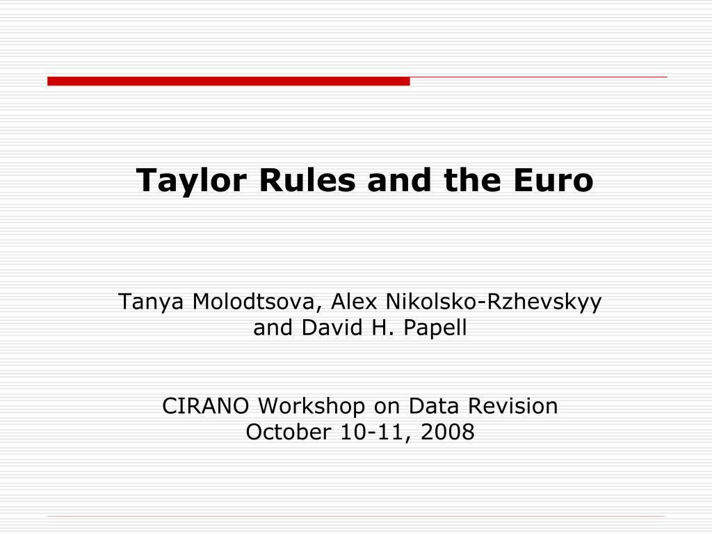 taylor rules and the euro l.