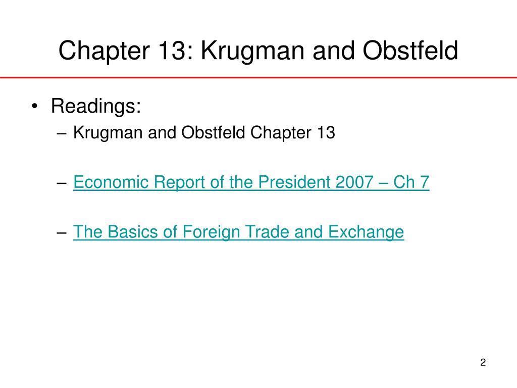 Chapter 13: Krugman and Obstfeld
