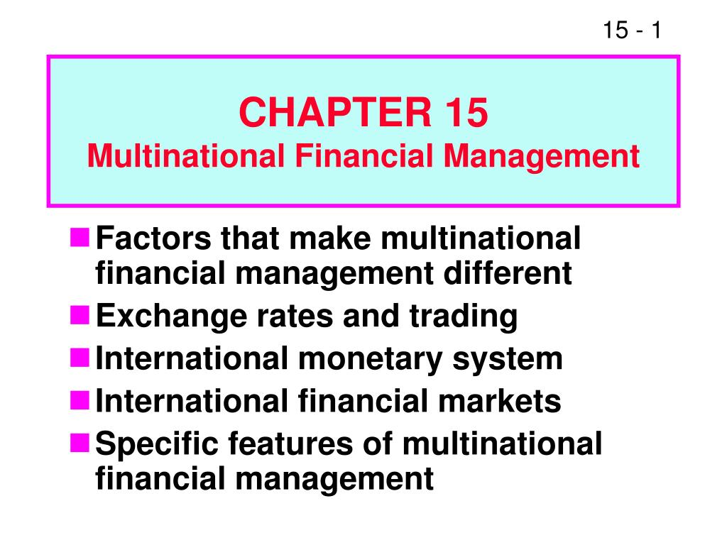 chapter 15 multinational financial management l.