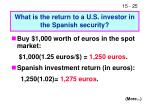what is the return to a u s investor in the spanish security