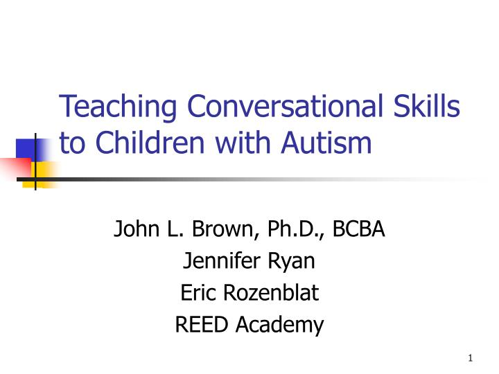 teaching conversational skills to children with autism n.