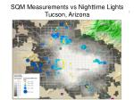 sqm measurements vs nighttime lights tucson arizona