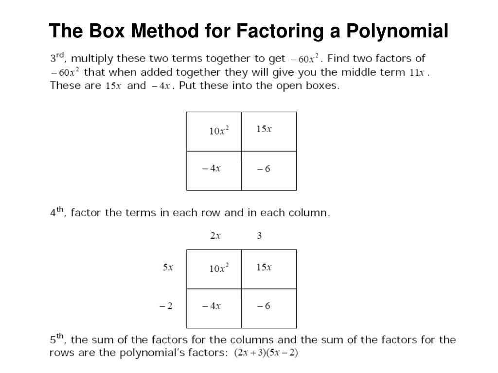 The Box Method for Factoring a Polynomial