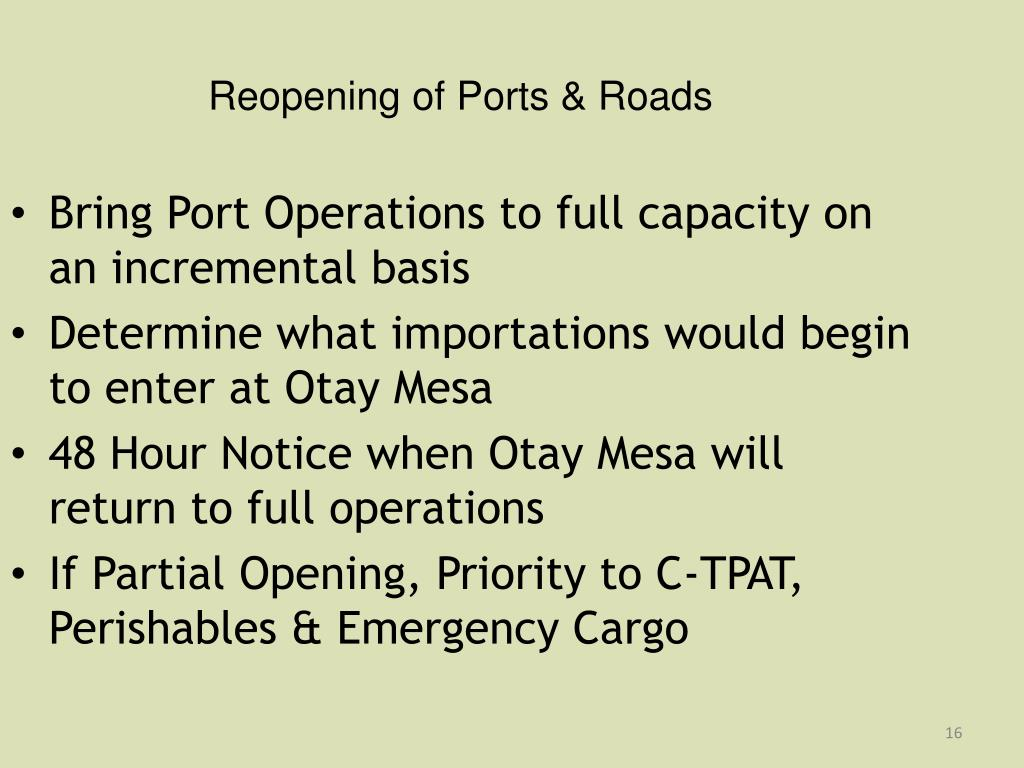 Reopening of Ports & Roads
