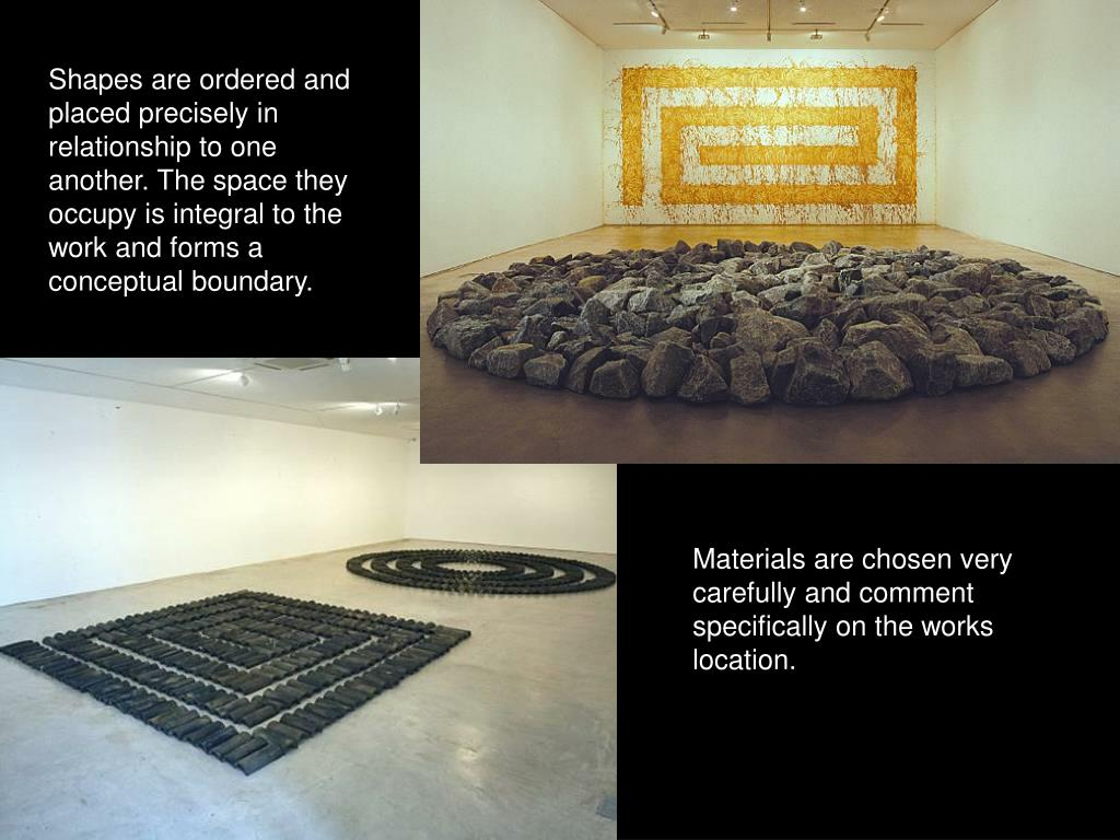 Shapes are ordered and placed precisely in relationship to one another. The space they occupy is integral to the work and forms a conceptual boundary.
