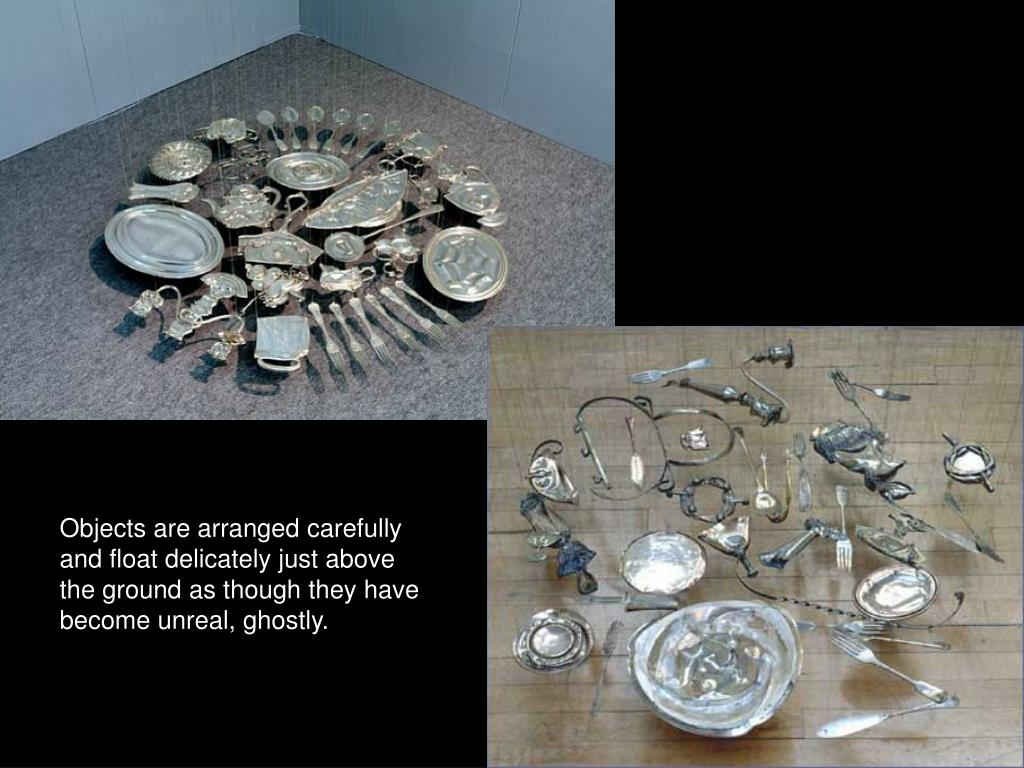 Objects are arranged carefully and float delicately just above the ground as though they have become unreal, ghostly.