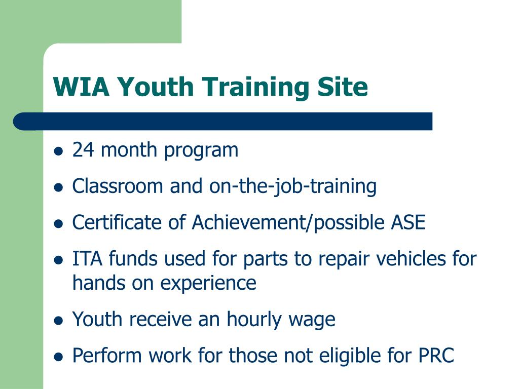 WIA Youth Training Site