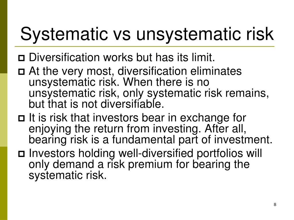 systematic unsystematic risk Start studying chapter 5 learn vocabulary, terms, and more with flashcards, games, and other study tools c quantifies systematic and unsystematic risk.