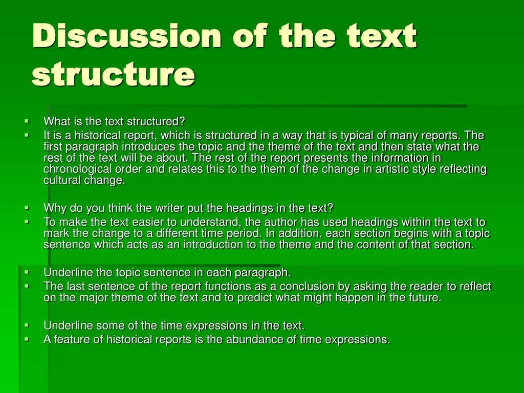 Discussion of the text structure