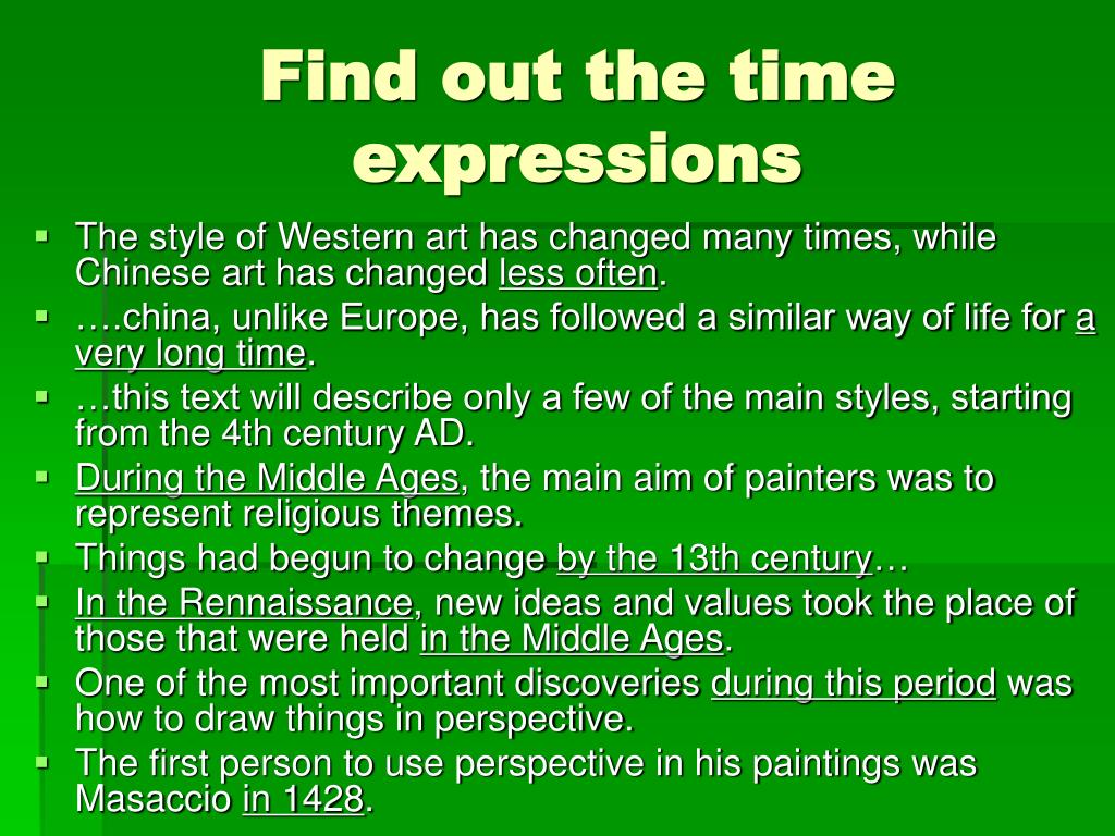 Find out the time expressions