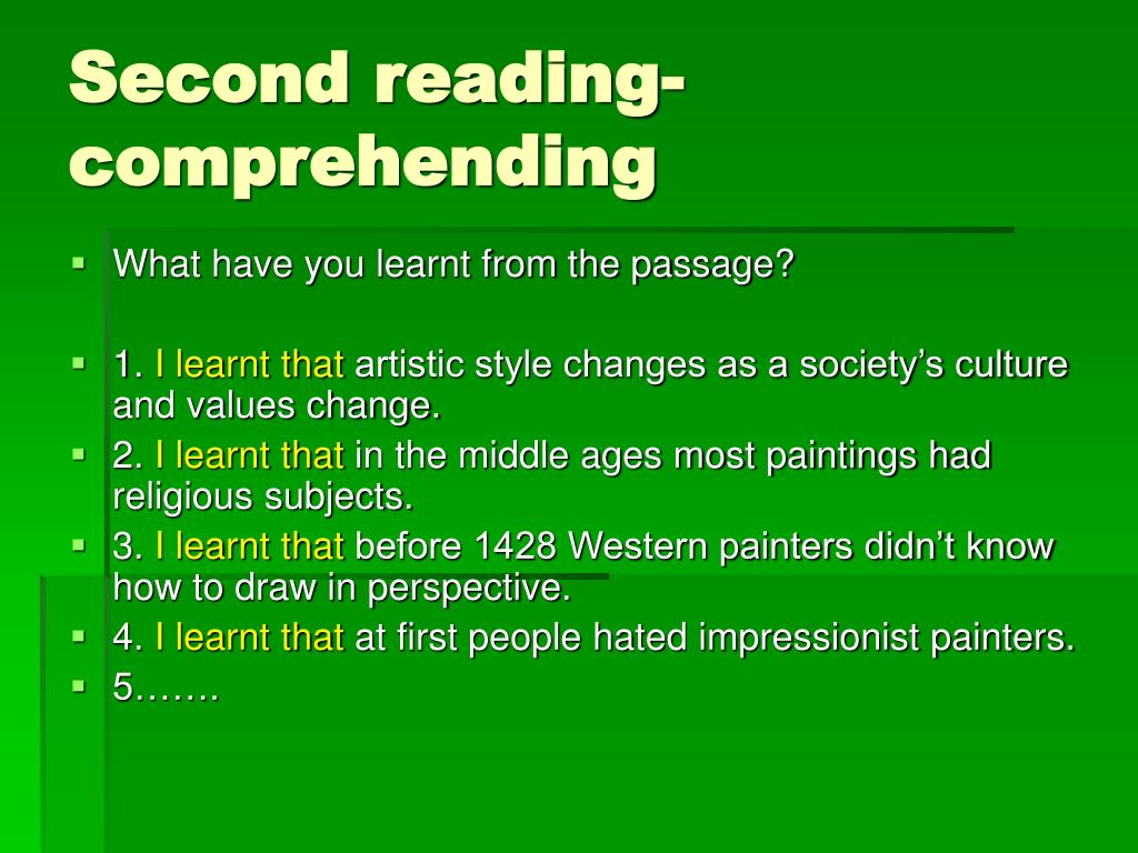 Second reading-comprehending