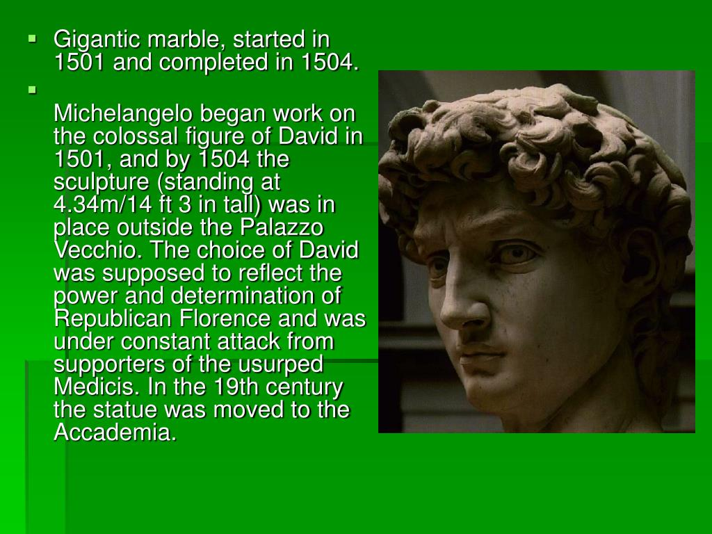 Gigantic marble, started in 1501 and completed in 1504.