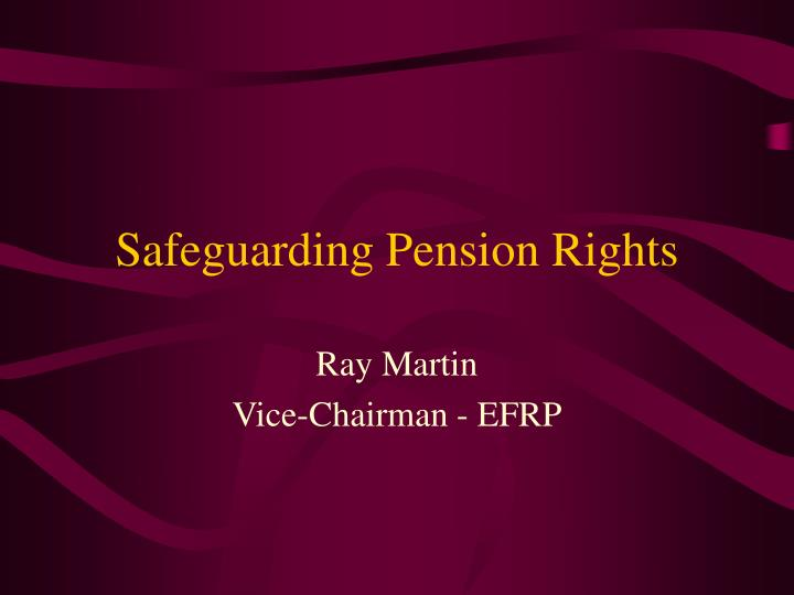 safeguarding pension rights n.