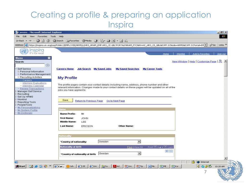 Creating a profile & preparing an application