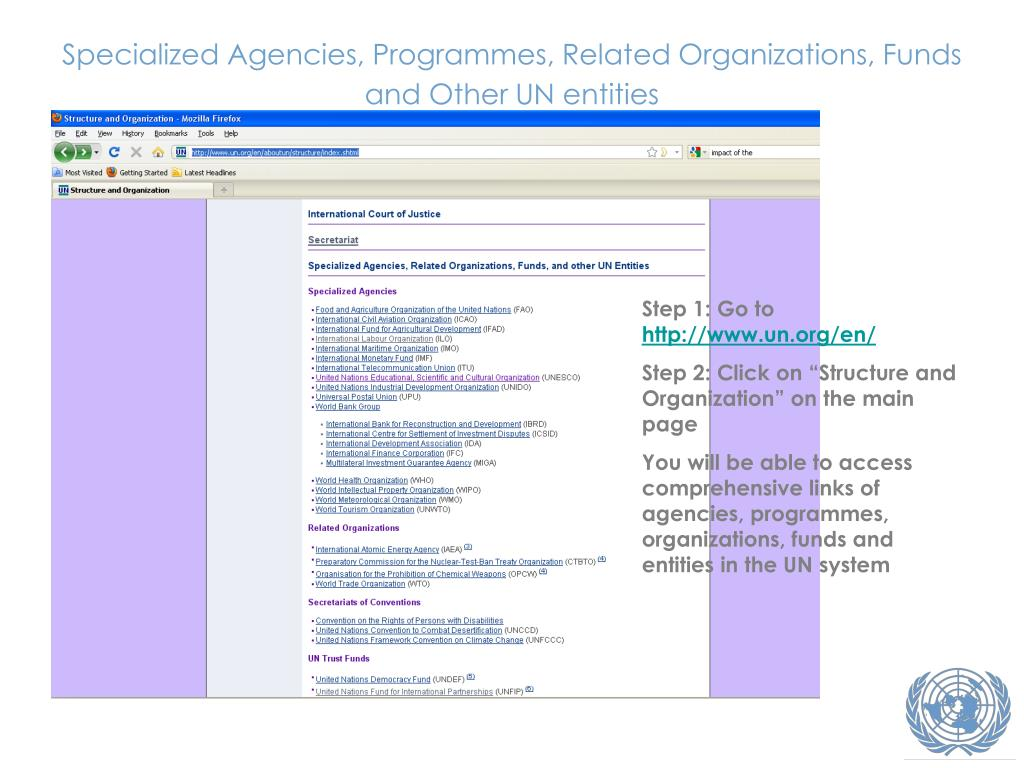 Specialized Agencies, Programmes, Related Organizations, Funds and Other UN entities