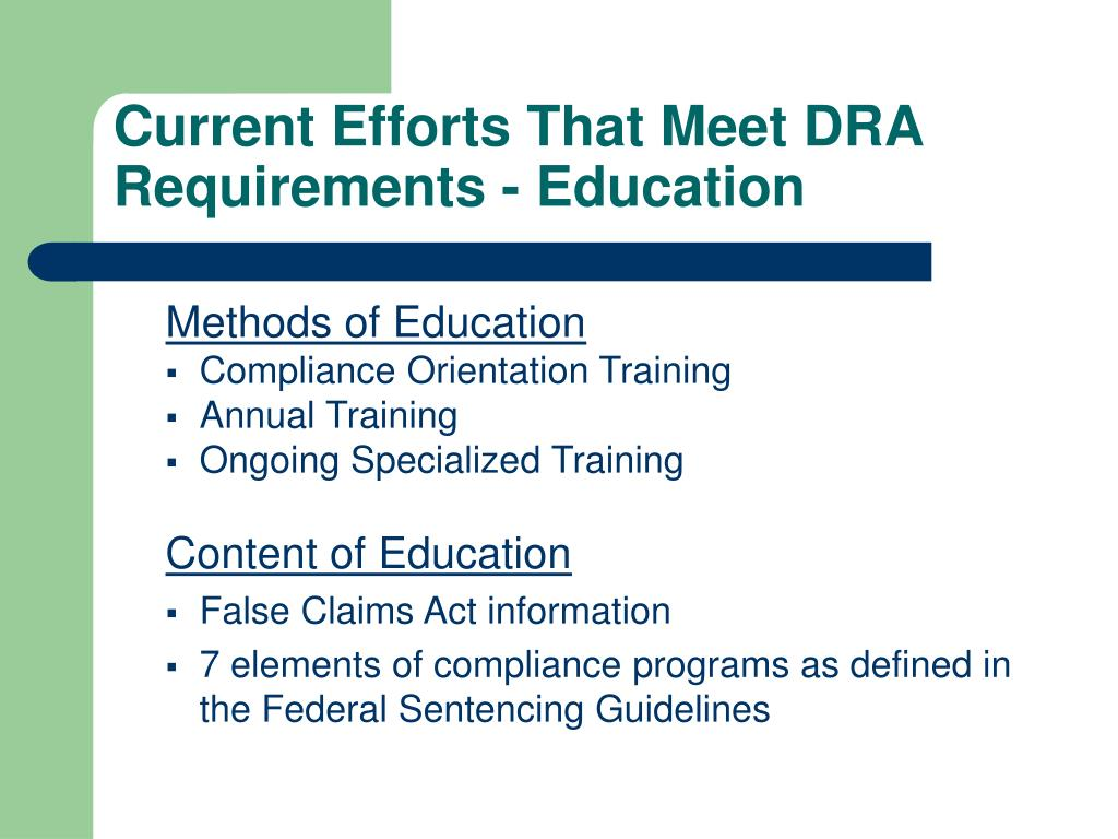Current Efforts That Meet DRA Requirements - Education