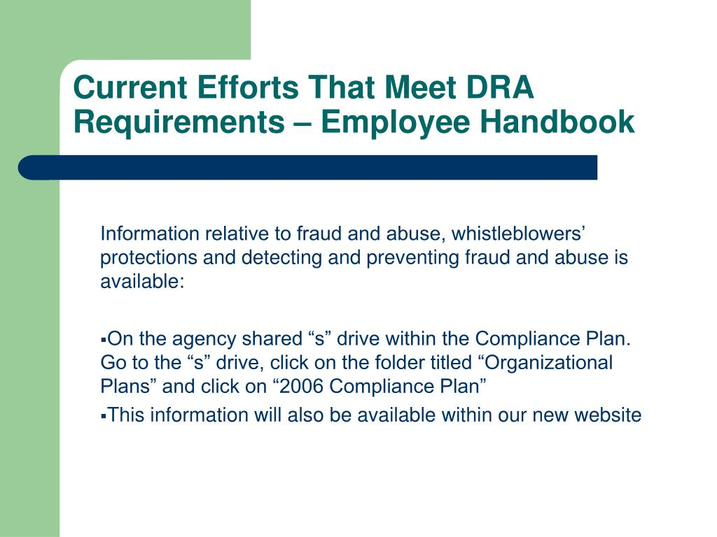 Current Efforts That Meet DRA Requirements – Employee Handbook