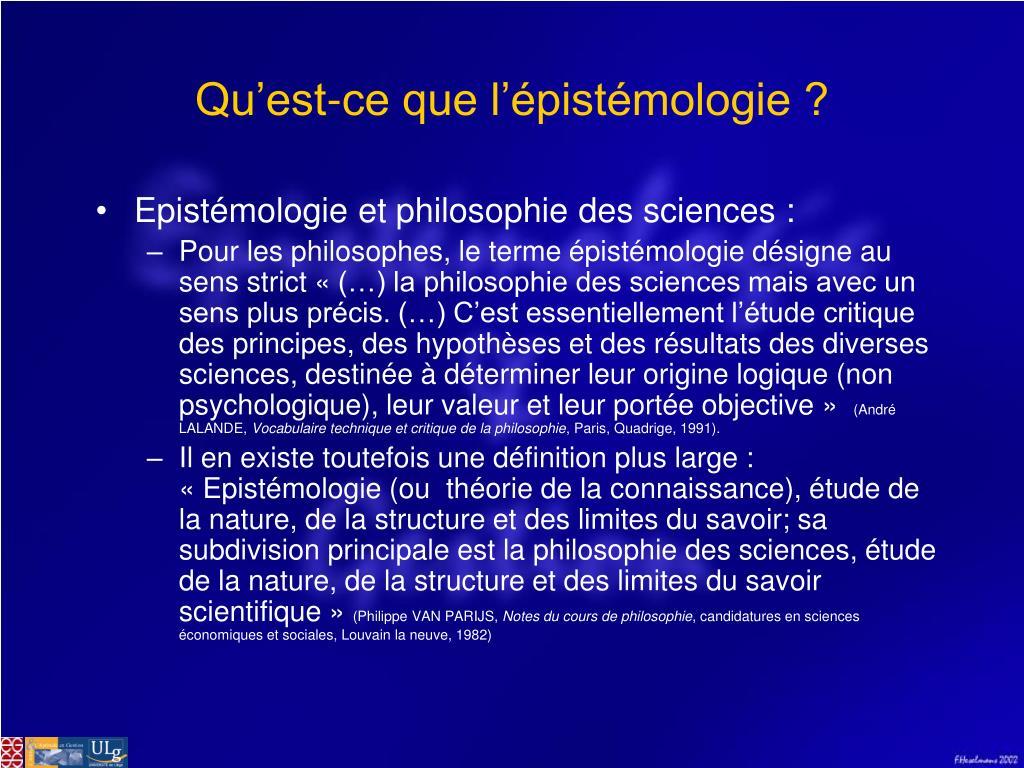 Qu'est-ce que l'épistémologie ?