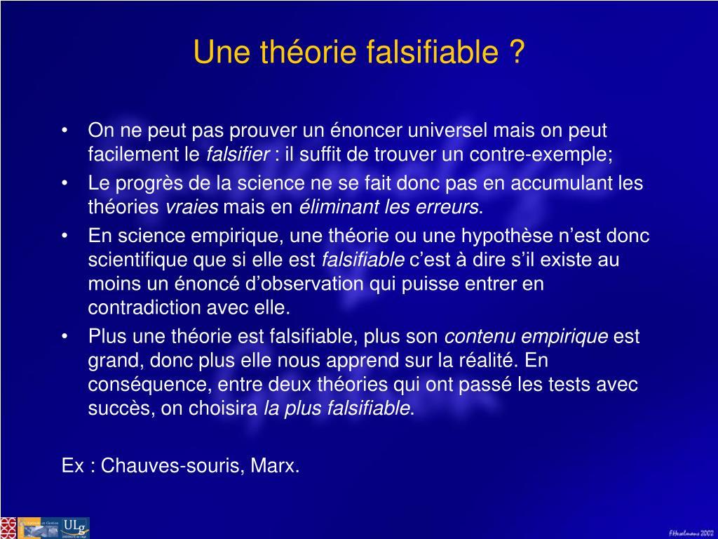 Une théorie falsifiable ?