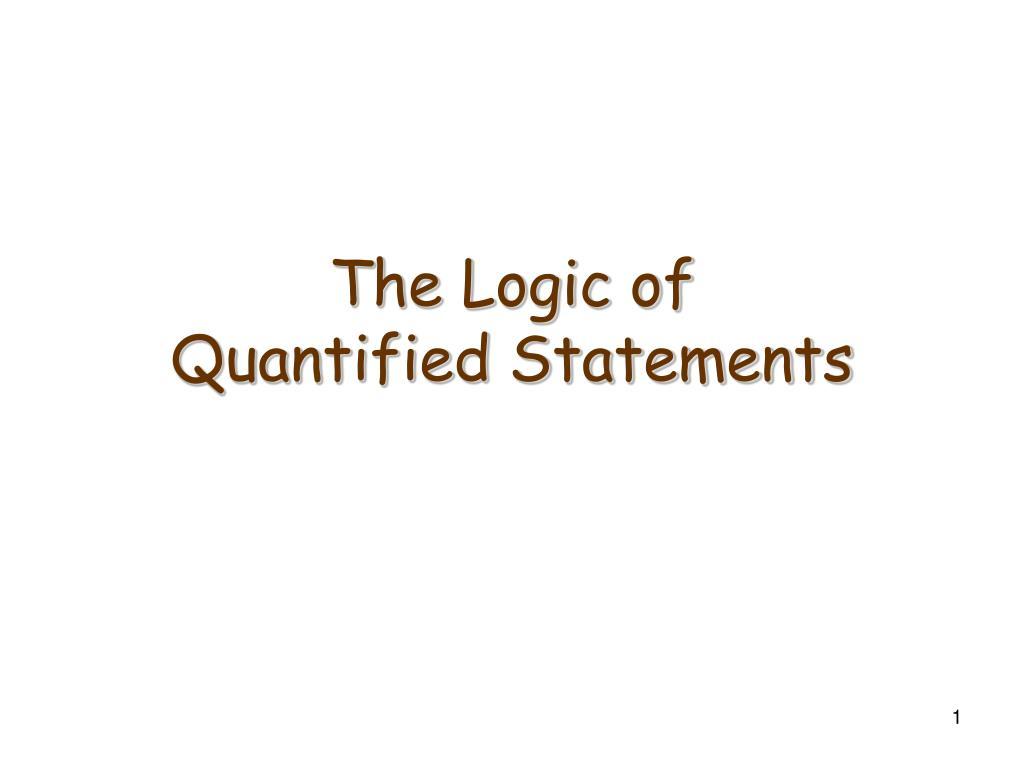 the logic of quantified statements l.