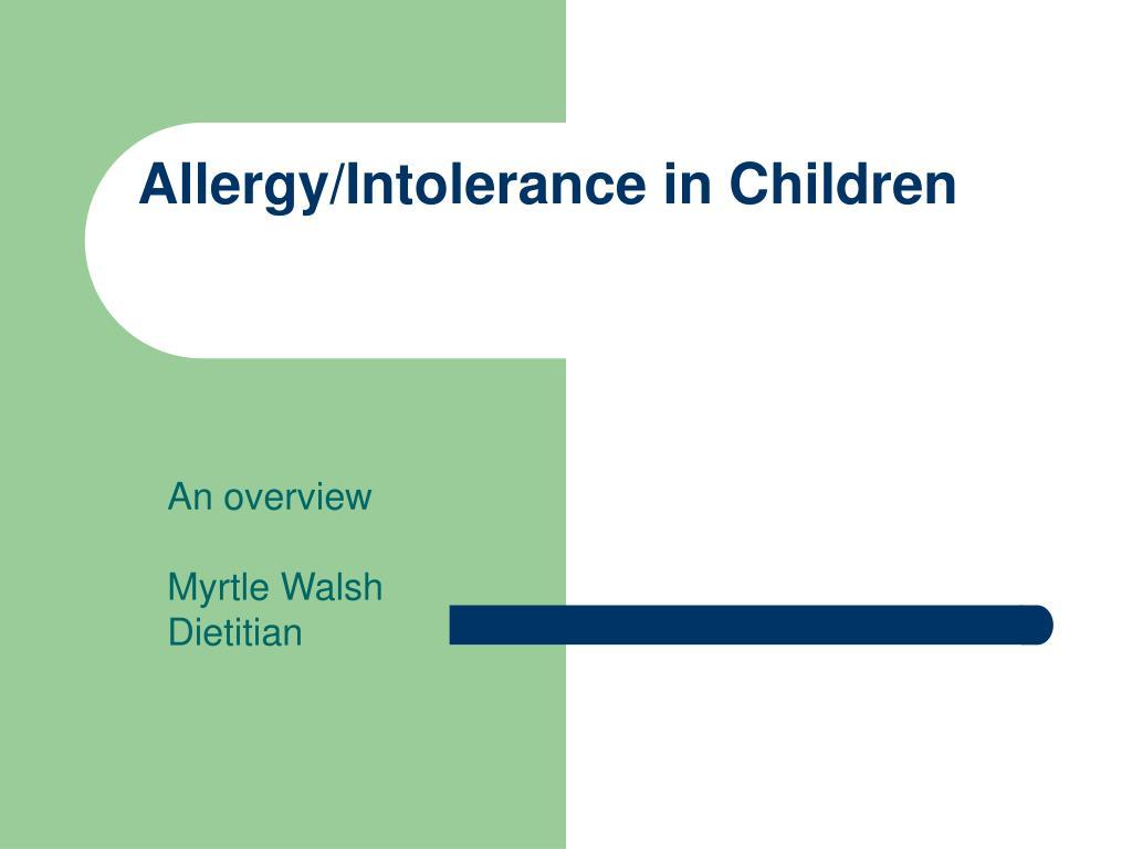 allergy intolerance in children l.