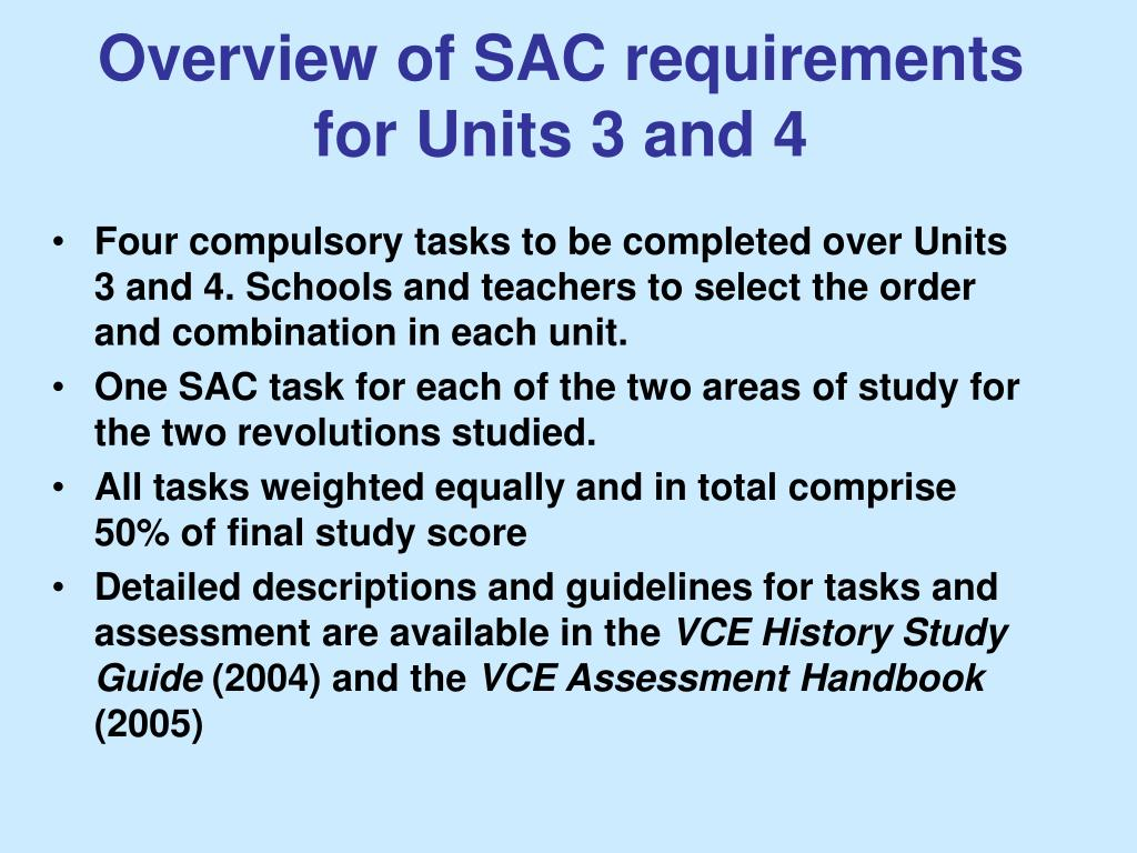 Overview of SAC requirements